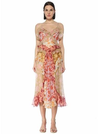 Zimmermann Zimmermann The Lovestruck Çiçekli Fırfırlı Midi İpek Elbise 101598428 Renkli